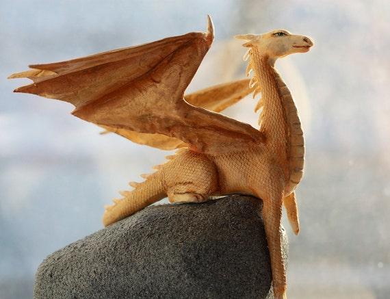 Dragon. Papier mache OOAK figure.