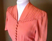 Vintage 1940s Salmon Pink Dress - Near Mint Condition
