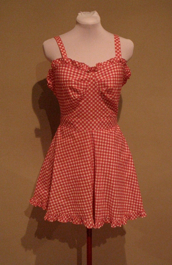 Vintage Late 40s Early 50s Red Gingham Playsuit with Ruffles - AS IS
