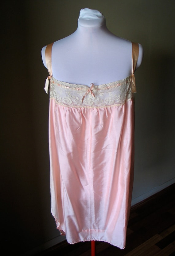 Vintage 1920s Pink Silk Step-in / Chemise / Slip - Rare XL Size