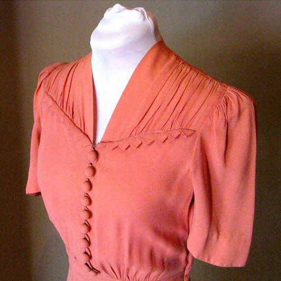 Vintage 1940s Salmon Pink Dress - Near Mint Condition