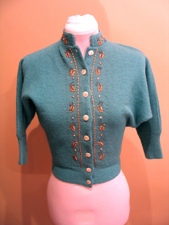 1950s Woolen Cardigan Teal / Aqua Beaded