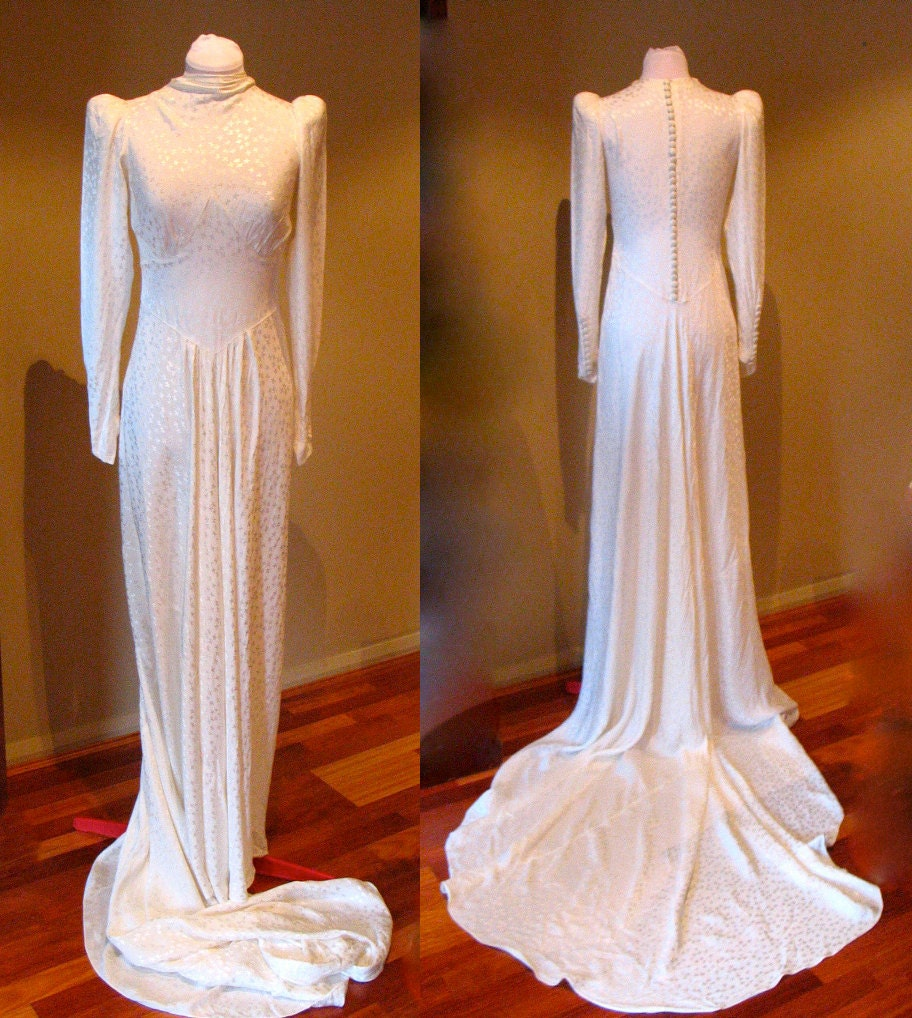 Vintage 1930s Wedding Gown Satin Bias Cut Stunning