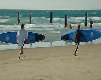 Surfers Blue Beach - Fine Art Photograph