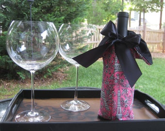 Pink and Black Eiffel Tower Wine Tote