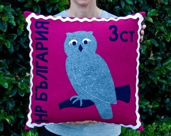 Bulgarian owl stamp cushion cover