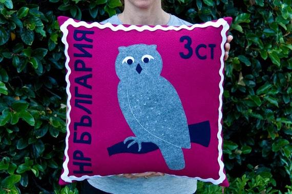 Bulgarian owl stamp cushion cover