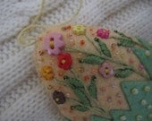 Easter Decoration - Felt Beaded Egg Ornament in Yellow and Green - Embroidered Spring Blossoms