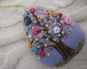 Easter Decoration - Felt Beaded Egg Ornament in Lavender - Spring Tree Ornament - Bead and Button Decoration