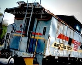 """12"""" x 18"""" print of Family Lines train caboose photograph by Vanessa Giddens.   Family Lines blue, yellow, red train caboose."""