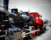 "12"" x 18"" print of General II steam engine train photograph by Vanessa Giddens.  Red, Black, General II steam engine train."