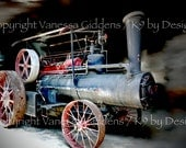 """12"""" x 18"""" print of an antique steam engine tractor photograph by Vanessa Giddens.  Steam engine tractor with red, black, and gray."""