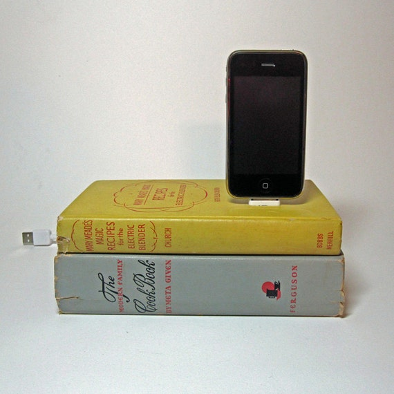 Vintage Cookbooks Book Charging Station for iPhone and iPod
