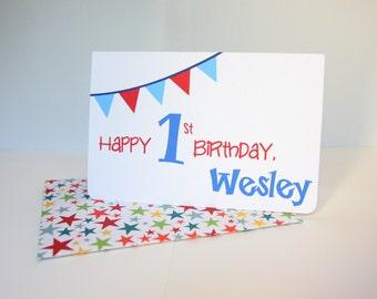 Custom Birthday Greeting Card - Bunting - Blank Inside