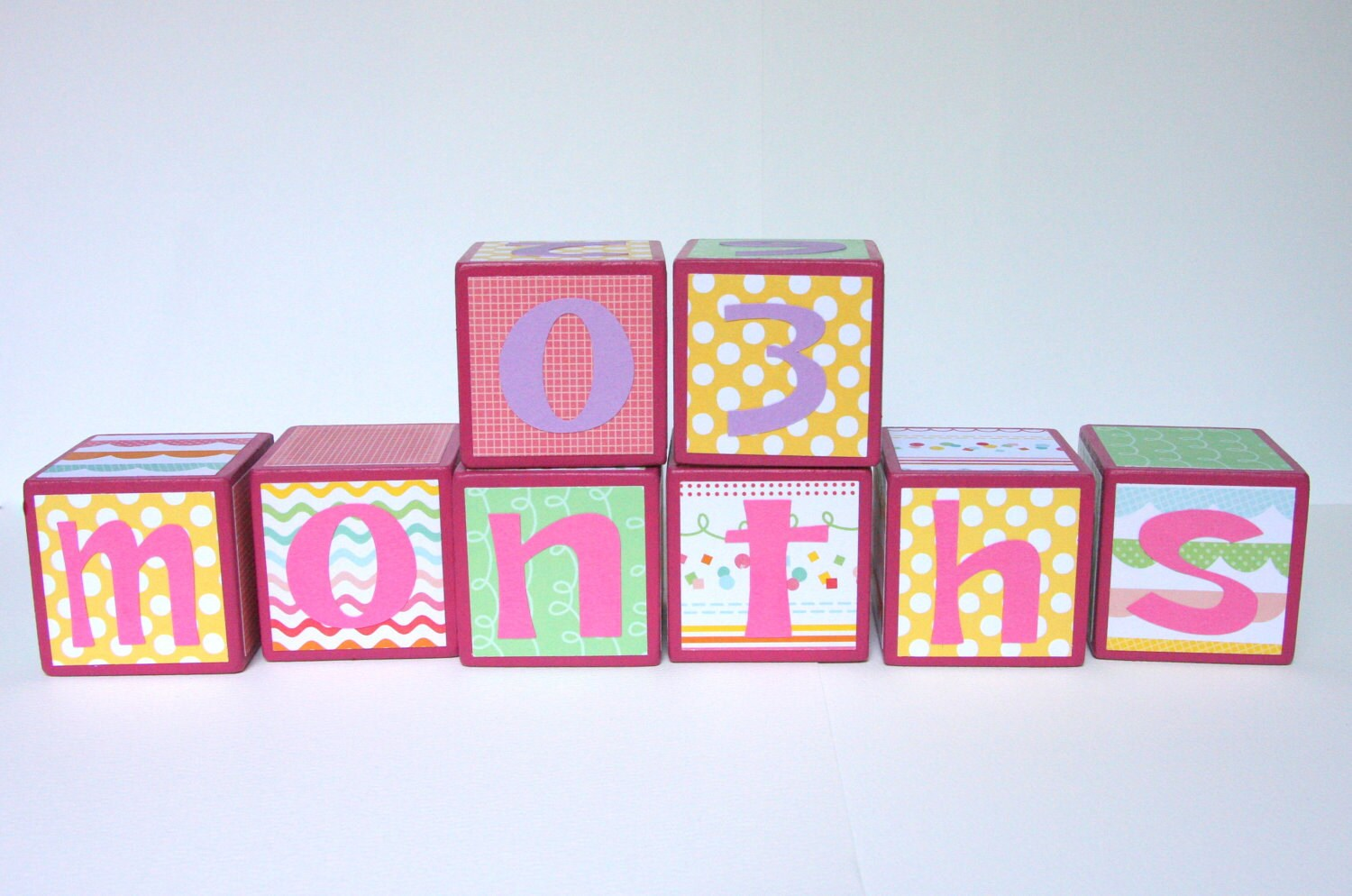 Baby Month Blocks SET OF 8 Baby Girl Wavy by BugabooBlocks