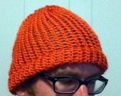 Orange unisex soft knitted beanie hat orange toboggan hat