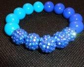 Blue Sparkle Resin beaded stretch bracelet