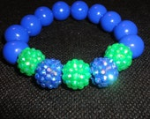 Blue and Turquoise Sparkle Resin beaded stretch bracelet