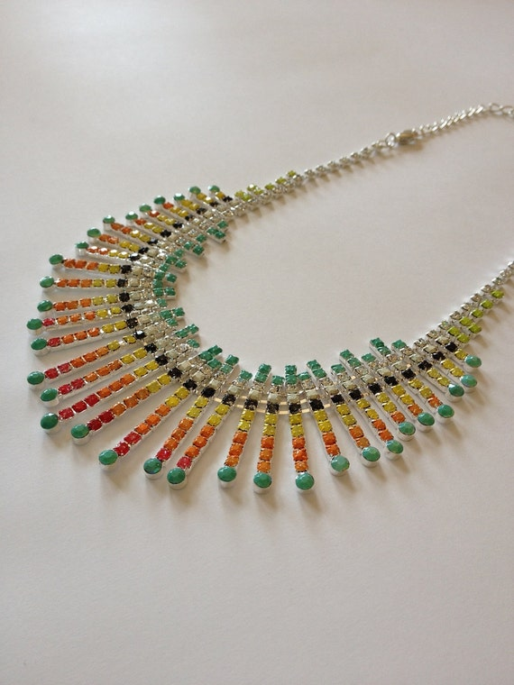 The Linnea Necklace, Colorful Hand Painted Rhinestones Inspired by Tom Binns, Statement Necklace