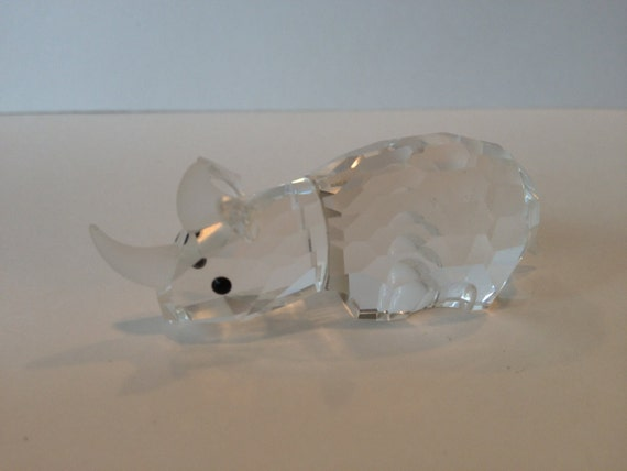 Swarovski Crystal Rhino Figurine, Retired Swarovski Crystal