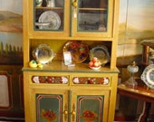 Hand painted french buffet, in the yellow tone,   18 century technic of milk paint ,signed piece.