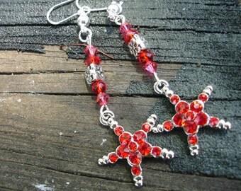 Star earrings, red star earrings, red earrings, red jewelry, star jewelry, red star jewelry, red star earring, star earring, birthday gift