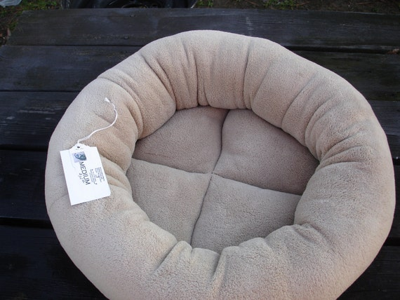 Dog bed or cat bed machine washable & dryer safe 19 inch in an ecru microplush fabric
