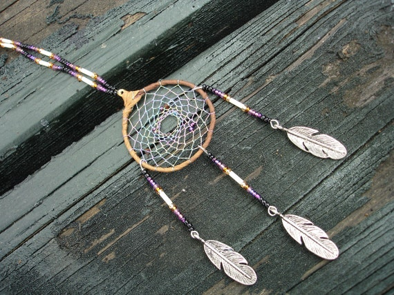Daydreamcatcher to hang on car rearview mirror in purple and gold and tan