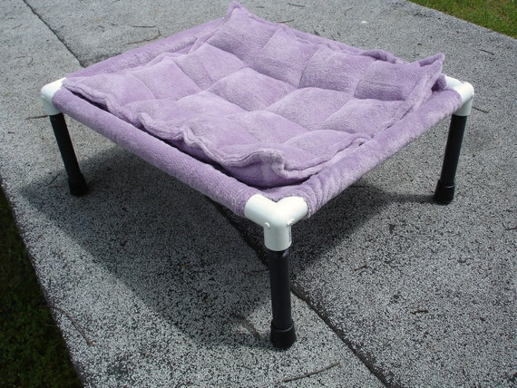Hammock 15 by 19 inch cat or dog in a soft dusky lilac purple microplush fabric with matching mat