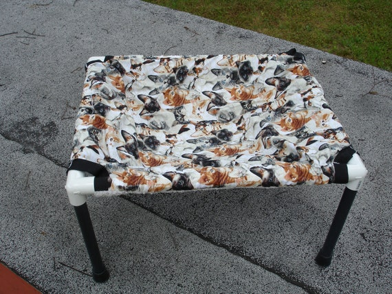 Cat hammock 15 by 19 inch in a cats on cream cotton print with reversible silver microplush fabric
