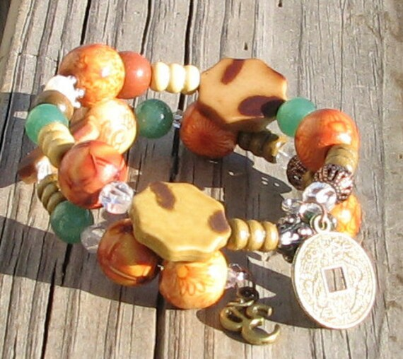 Dis-ease Cancer Gemstone Healing Crystal Jade Pearl Jasper Silver Wooden Wrap OM Chinese Coin Bracelet