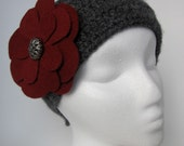 The Lorelei - Gray and burgundy ear warmer / headband - Free shipping