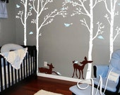 Birch Trees, Birds and Fawns Wall Decal