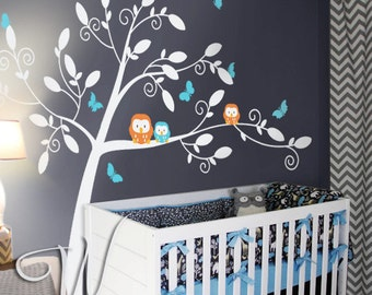 Owls and Butterflies Tree Wall Decal