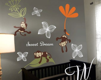Sweet Dream Monkeys - Nursery, Kids Wall Decal