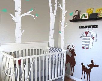 Deer, Fawn, Birds and Birch Trees Wall Decal
