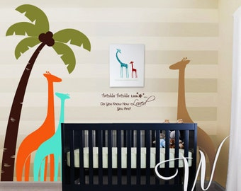 Palm Tree and Giraffes - Nursery, Kids Wall Decal