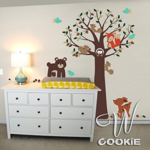 Forest Small Animals and Tree - Nursery Wall Decal