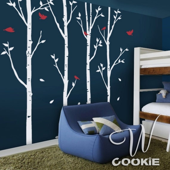 Birch Trees And Birds Nursery Wall Decal