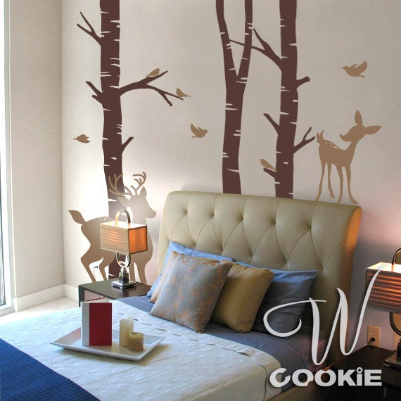 Deer, Fawn, Birds and Birch Trees - Wall Decal