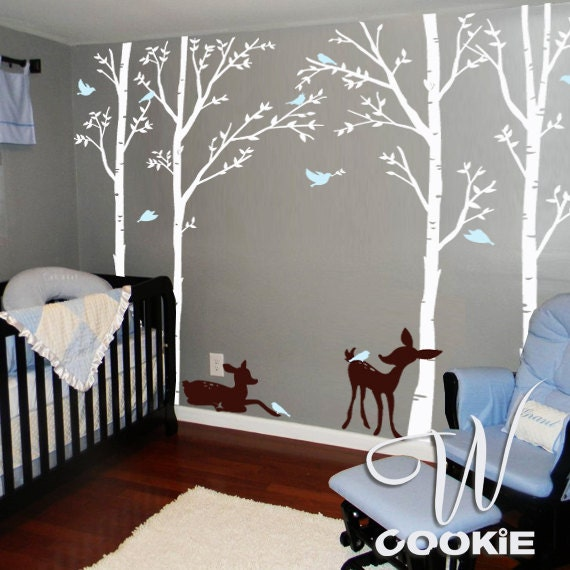 Birch trees birds and fawns wall decal for Deer wall mural