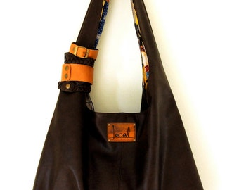 SERENDIPITY. Brown leather shoulder bag / brown leather tote bag / simple leather bag / leather purse. Available in different leather color.