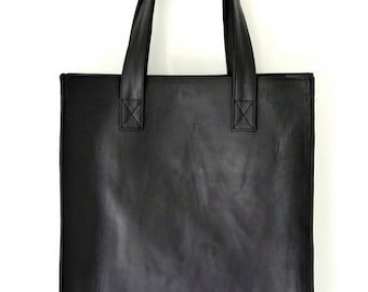 LENA Leather Tote Bag Black