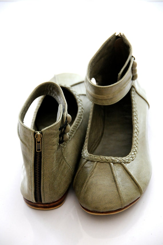 Olive Green Ladies Flat Shoes