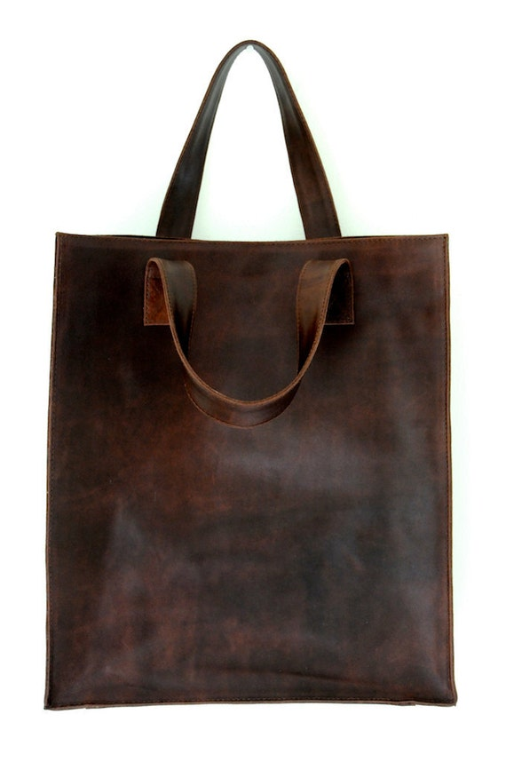 MINIMO. Leather bag / shopper tote / simple leather bag /