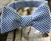 Navy Gingham Seersucker Self Tie Adjustable Bow Tie