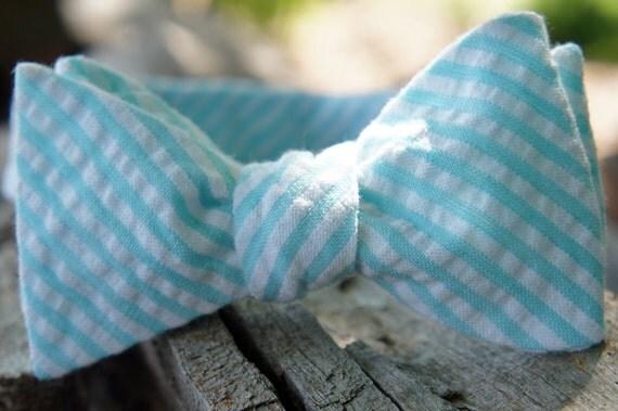"""Aqua Seersucker Self Tie Adjustable Bow Tie (14.5""""-18.5"""")"""