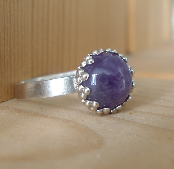 Silver Amethyst  Ring -  Sterling silver jewelry - Handmade jewelry - Natural stone - Size 10