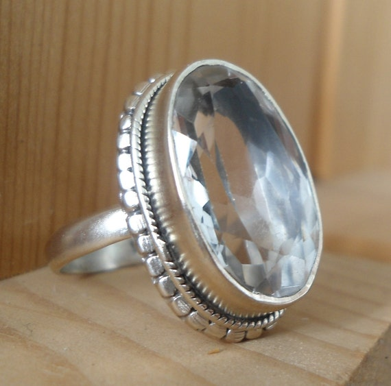 Sterling Silver stone Ring -  White Topaz ring -  Sterling silver jewelry