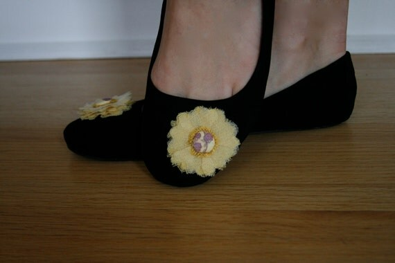 SALE, SALE - Black flat with yellow hand crafted flower. Size 9